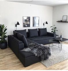 Living Room Grey, Small Living Rooms, Home Living Room, Apartment Living, Interior Design Living Room, Living Room Designs, Modern Living, Cozy Living, Charcoal Sofa Living Room