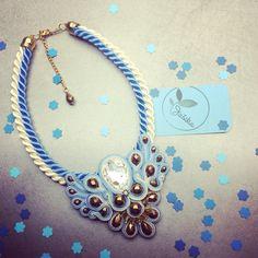 Blue necklace #handmade #soutache #madebyjasika