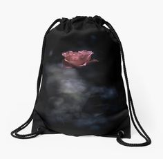 Beautiful pink rose on a dark background and white smoke • Also buy this artwork on bags, apparel, stickers, and more. photo, photography, artwork, buy, fashion, bag, tote, drawstring, black, dark, background, carry-all, pouch, red, scarlet, pink, rose, roses, flower, flowers, fog, smoke, love, passion, bright