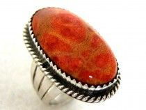 Sterling Silver Coral Ring 7244