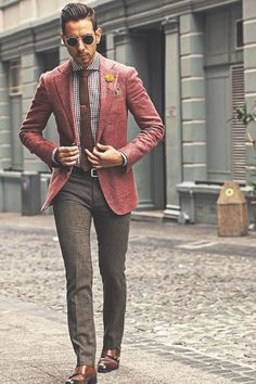 in red and brown elzaanvdm Sunglasses from rayban Blazer from suitsupply Shirt from suitsupply Pants from topmansa Shoes by tobootnewyork For sartorial secrets Mens Fashion Blog, Fashion Moda, Suit Fashion, Dope Fashion, Fashion Clothes, Street Fashion, Fashion Tips, Fashion Trends, Terno Casual