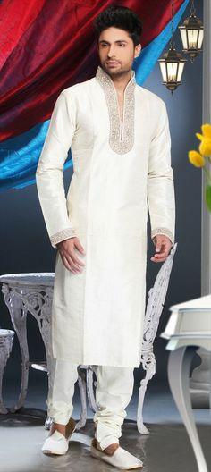 12466, Kurta Pyjamas, Art Silk, Machine Embroidery, Resham, Zari, Thread, White and Off White Color Family