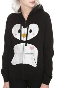Goodie Two Sleeves Love Penguin Girls Zip Hoodie