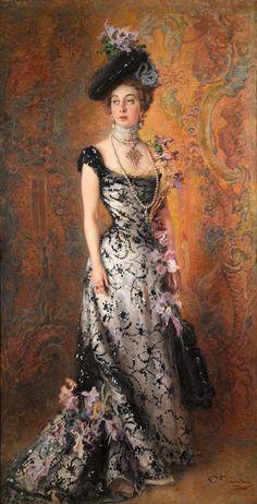 fashion history: 1900 Konstantin Makovsky - The artist& wife in orchids . Victorian Art, Victorian Women, Belle Epoque, Fashion History, Fashion Art, Artist Fashion, Edwardian Fashion, Vintage Fashion, Style Édouardien