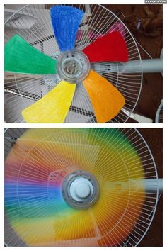 Step one duct the fan fins in different colors. step two turn on the fan and see the rainbow. ( so want to try this.)