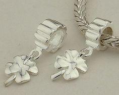 CLYB026 925 Sterling Silver Clover Dangle Pandora Charms Pandora Clover Good Luck