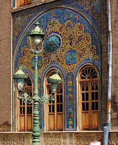 Windows that open out of the Golestan Palace, Tehran.