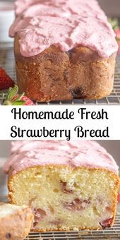 Strawberry Bread a delicious Homemade sweet loaf made with fresh strawberries an. Strawberry Bread a delicious Homemade sweet loaf made with fresh strawberries and topped with a creamy strawberry glaze. The perfect Summer Quick Bread. Quick Bread Recipes, Bread Machine Recipes, Pastry Recipes, Baking Recipes, Loaf Recipes, Easy Bread, Oreo Dessert, Dessert Bread, Breakfast Dessert