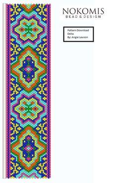 Delia Peyote Stitch Bracelet Pattern Digital Download by NokomisBeadAndDesign on…