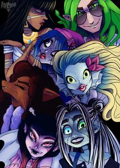To my fellow loyal monster high fans: Ghouls rule. Arte Monster High, Monster High Dolls, Ever After High, Personajes Monster High, Monster High Pictures, Cartoon Monsters, Cartoon Crossovers, Witch Art, Doll Repaint