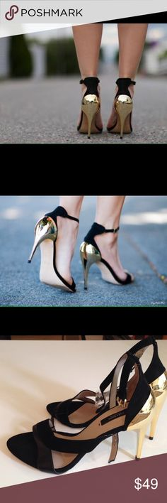 "ZARA GOLD HEELED SANDALS Black suede and leather sandals with super gorgeous gold reflective heels. Heel height: 4"" Brand new with tags. Never worn. Zara Shoes Heels"