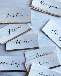 Handmade paper place cards with modern calligraphy and silver edges Calligraphy Cards, Calligraphy Envelope, Wedding Calligraphy, Modern Calligraphy, Wedding Stationery, Caligraphy, Name Place Cards Wedding, Wedding Name Tags, Wedding Table Names