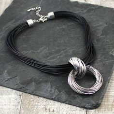 Hoop To Hoop Cord Necklace In Grey Or Black Posh Shop, Costume Jewelry, Hoop, Grey, Bracelets, Silver, Shopping, Black, Gray