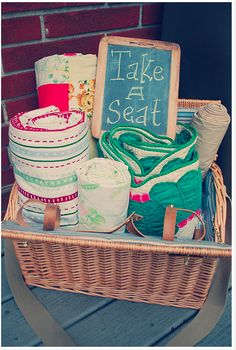 For outdoors party: picnic blankets -- could have already set up out in the yard among the chairs