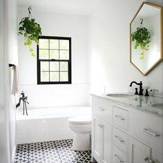 Bathroom Goals. Hexagon mirror from #WestElm and floor tiles from #CementTileShop
