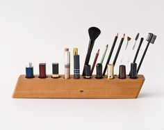 Pear Wood Makeup Organizer / Makeup Holder / Makeup by lessandmore