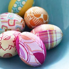 Fabric-Wrapped Eggs. Cute idea for Easter!