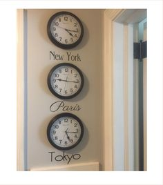 Time Zone Decal - City Names Decal - City Names for Clocks - Bucket List - Favorite Cities - Favorite City Time Zones - DIY Time Zone Clocks by NashSignsAndGraphix on Etsy Black Wall Clock, Time Zone Clocks, Wall Clock Time Zones, Travel Themed Bedroom, Travel Themed Room, Clock, Aviation Decor, World Clock, Clock Decor