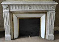Beautiful antique Louis XVI style fireplace with flutings in White Carrara marble - Reference 2945