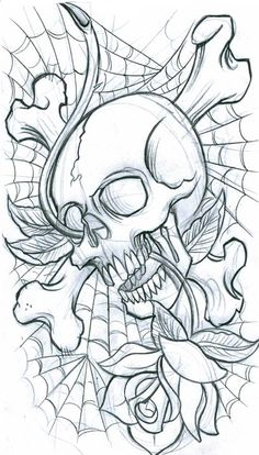 Old School Skull Tattoo Design Lower Back Tattoos - Lombn Sites Free Tattoo Designs, Tattoo Design Drawings, Skull Tattoo Design, Skull Design, Skull Tattoos, Body Art Tattoos, Art Drawings, Tattoo Free, Evil Skull Tattoo