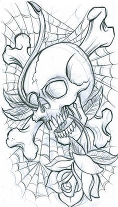 skulls and roses | Tattoo design - Skulls, bird and roses by *Xenija88 on deviantART - FR ...