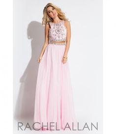 Rachel Allan 7220 Pink Two Piece Sequin A-Line Dress 2016 Homecoming Dresses