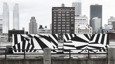 The 18 Most Popular Paint Colors Right Now, According to the Experts Most Popular Paint Colors, Dazzle Camouflage, Office Mural, Green Facade, Boat Decor, Wall Drawing, Razzle Dazzle, Environmental Graphics, Black And White Design