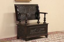 Oak 1890 Carved Antique Hutch Table or Settle Bench
