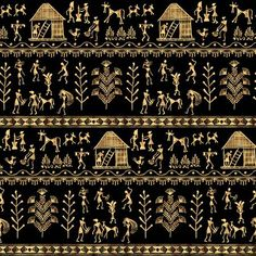 Illustration of Warli painting seamless pattern - hand drawn traditional the ancient tribal art India. Rudimentary Technique depicting rural life of the inhabitants of India. Gold on a black background vector art, clipart and stock vectors. Worli Painting, Fabric Painting, Painting Frames, Interior Painting, Painting Doors, Room Paint Colors, Paint Colors For Living Room, Tribal Wallpaper, Madhubani Painting