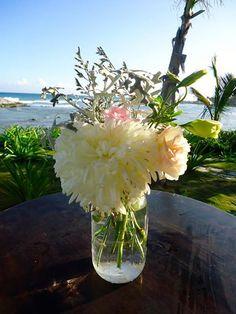 CBV168 Weddings Riviera Maya mason jar centerpieces/ Bodas Riviera maya mason jar centro de mesa