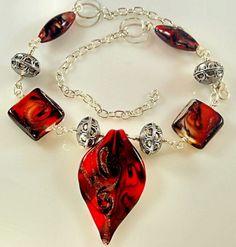 Leaf Pendant Red Black Swirl Necklace   Melekdesigns - Jewelry on ArtFire