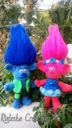 2 Patterns Together -Pdf Crochet Patterns- Poppy and Branch -Trolls amigurumi (pattern only not the finished product) Crochet For Kids, Crochet Toys, Poppy And Branch, Troll Dolls, Lany, Amigurumi Doll, Party Time, Crochet Patterns, Christmas Ornaments
