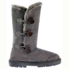 Ella Womens Triple 3 Button Fully Fur Lined Flat Winter Boot  Chestnut Brown Black Dark Brown UK3  EU36  US5  AU4 Grey ** You can get additional details at the image link.(This is an Amazon affiliate link)