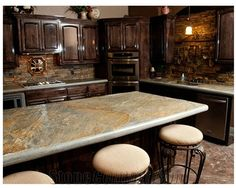 Stained Cabinets Ledge Stone Back Spash Sydney Peak Stone Kitchen Backsplash United States