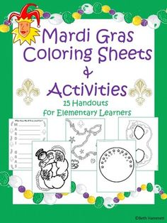 Mardi Gras Activities and Coloring Sheets for Elementary Learners from Educator Helper on TeachersNotebook.com - (16 pages) - 15 activities to color and decorate for Mardi Gras fun!