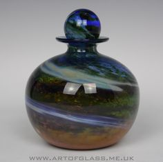 Isle of Wight Studio Glass Aurene  bottle, designed by Michael Harris