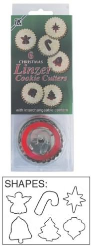 Christmas Linzer set includes an angel, candy cane, Bethlehem Star, Bell, Christmas tree, and ornament.