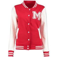 Ella Varsity Bomber Jacket (110 BRL) ❤ liked on Polyvore featuring outerwear, jackets, varsity bomber jacket, wrap jacket, red jacket, college jacket and varsity style jacket