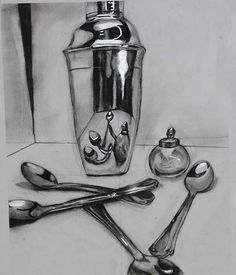A study of drawing reflective metal objects Metal Drawing, Ap Drawing, Object Drawing, Drawing Studies, Drawing Classes, Still Life Sketch, Still Life Drawing, Still Life Art, Still Life Pencil Shading