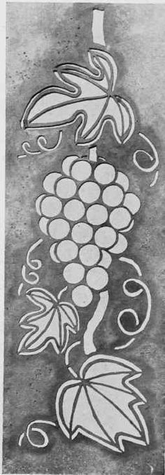 "Grape Stencil. From the book ""Handicrafts In The Home"", by Mabel Tuke Priestman, Chapter VII. Stencil Craft, 1910."