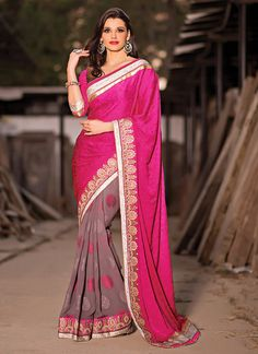 Mauve And Pink Half And Half Saree