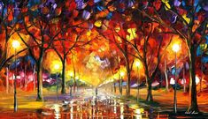 "Warm Rain Drops — PALETTE KNIFE Oil Painting On Canvas By Leonid Afremov - Size: 40"" x 24"""