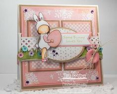 I made this card with the Pure Innocence Bunny Ears, the Lattice Fence and Trellis and Vine Die-namics.