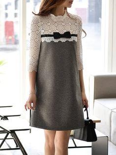 Light Gray 3/4 Sleeve A-line Guipure Paneled Mini Dress