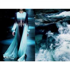 Roberto Cavalli Fall 2015. Photo by Indigital via vogue.co.uk • & • Ocean water. Photo via pinterest.com (author unknown) •  Dress: @roberto_cavalli #RobertoCavalli All collages by tag ;)  #LiliyaHudyakova