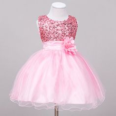 Fashionable baby girls round neck sleeveless sequins party dress. Special shiny design, 3D flower on the waist, very lovely and beautiful. Photo color might be a little different from the actual product due to color display of different monitors. | eBay!