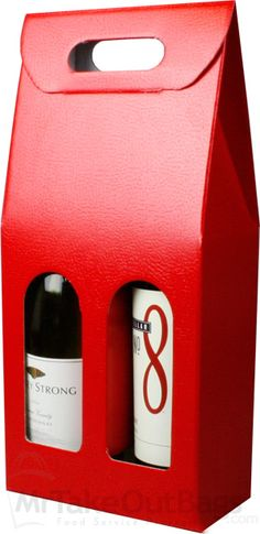 Share MrTakeOutBags.com with your friends and get a $2.00 off your order! PELLA ROSSA Red Two Bottle Wine Carrier Boxes