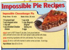 Bisquick's Impossible Cheeseburger Pie