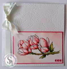 Clairebears x - Sheena's A Little Bit Floral Magnolia Blossom - Spectrum Aqua Pens - Blossom, Begonia, Moss, Chestnut - CC Watercolour Card - Flutterby Butterfly Embossing folder - #crafterscompanion #spectrumaqua