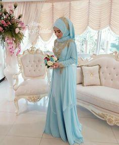 Muslimah Wedding Dress, Hijab Style Dress, Muslim Wedding Dresses, Wedding Gowns, Bridal Hijab, Hijab Bride, Wedding Hijab, Turkish Wedding Dress, Baby Blue Weddings
